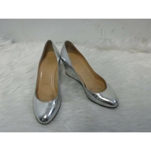 CHRISTIAN LOUBOUTIN SILVER LEATHER WEDGES SZ 37
